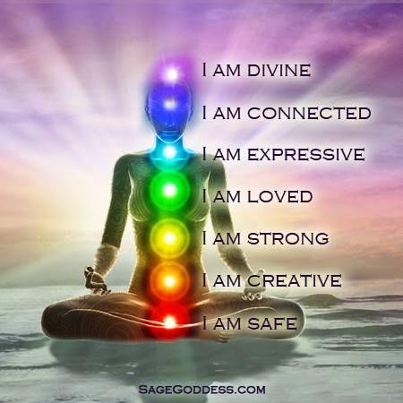 I am divine, I am connected, I am expressive, I am loved, I am strong, I am creative, I am safe. #LifeQuotes #Chakras