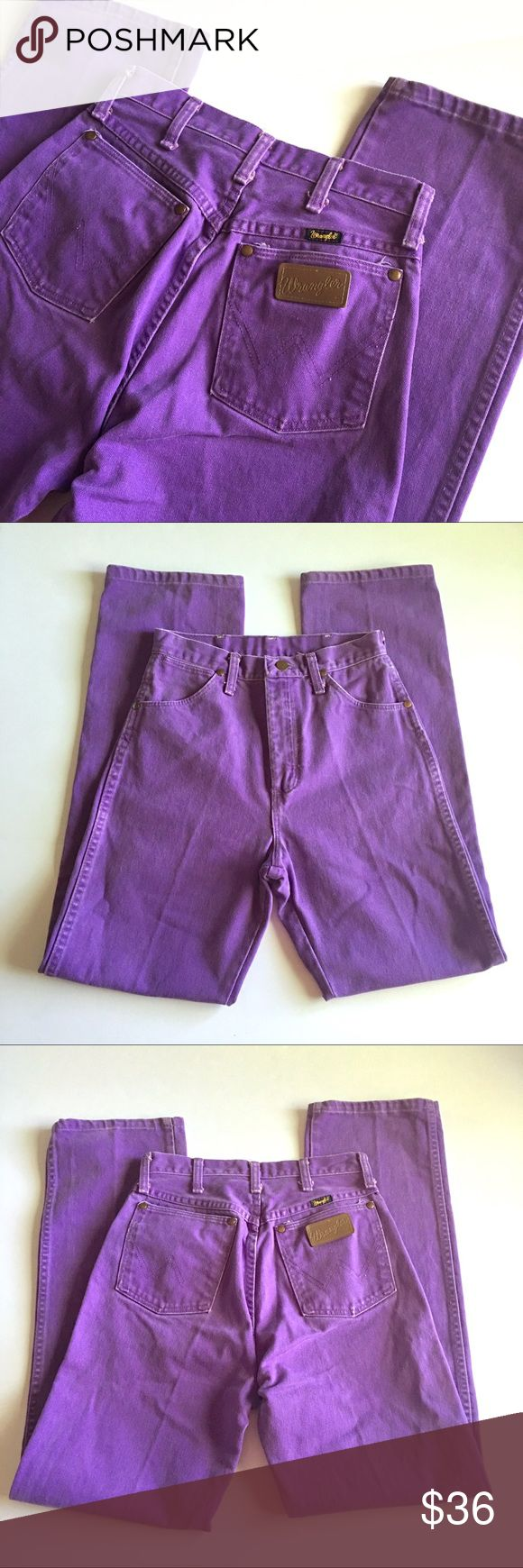 "❤ Wrangler Purple Western Jeans D3 Wrangler high-waisted purple western Denim jeans // tag says Sz 7 x 36. See measurements for best idea on Fit. // 100% cotton // straight leg // minor fade // minor wear, but it didn't photograph due to color // not my size. Can't model // 13"" waist laid flat // high waisted 12"" rise // 32"" inseam // 22"" hips laid flat // non-smoking home // 5.5.36.852 1p11.5o // Bundle discounts! {cowgirl, cowboy, horses, rodeo, western} Wrangler Jeans Straight Leg"