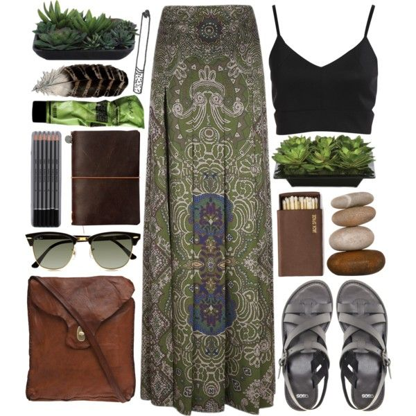 Earth and leaves by vv0lf on Polyvore featuring Yves Saint Laurent, ASOS, Campomaggi, Ray-Ban and Lux-Art Silks