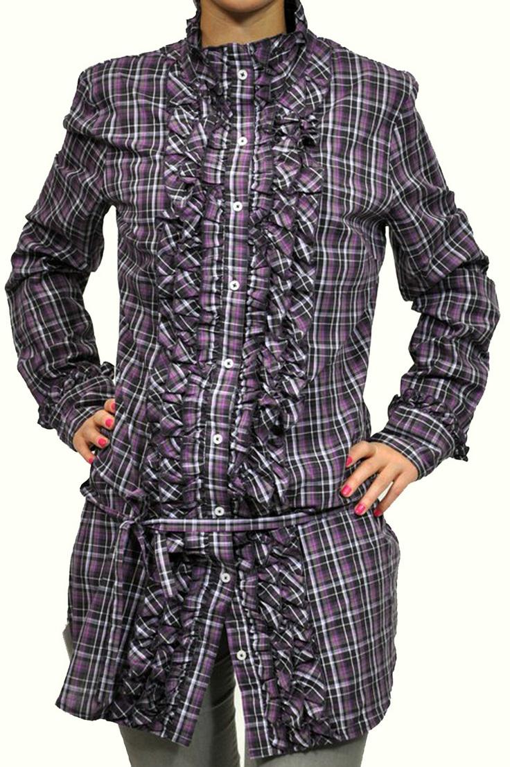 Camicia Fred Mello scacco bianco, viola e nero