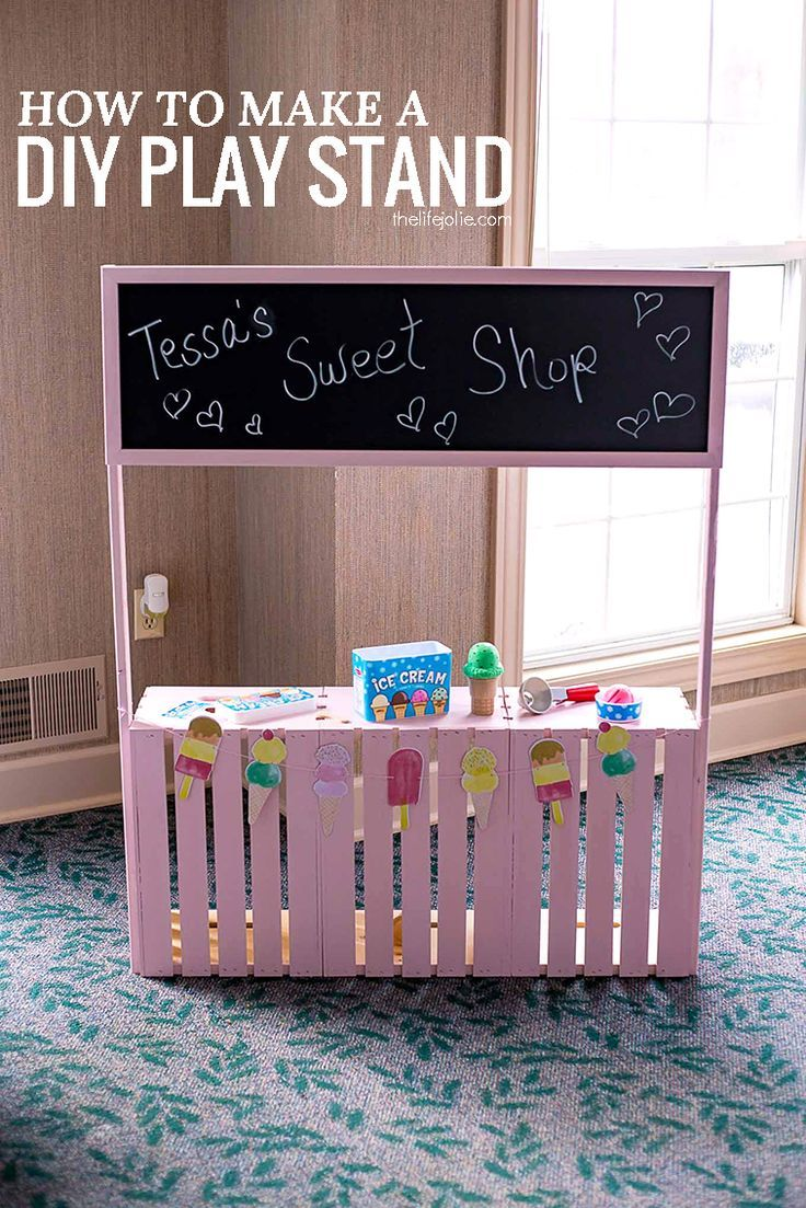 This DIY Play Stand is an imaginative toy to keep your kids entertained! It can be a lemonade stand, an ice cream stand, a market- the possibilities are endless! Your kids will have hours of fun with this easy to make and inexpensive project!