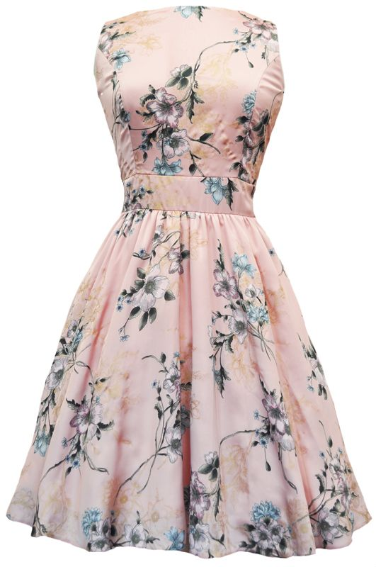 Pink Floral Tea Dress 1950s style flared skirt & fitted bodice  Fabulous Satin feel material  Fully lined with Cotton  Made in London