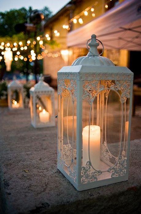 Białe lampiony w ogrodzie