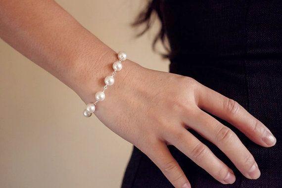 Simple and elegant bracelet. White Swarovski Pearl  Silver Plated Bracelet by Shen Wong. #jewellery #fashion