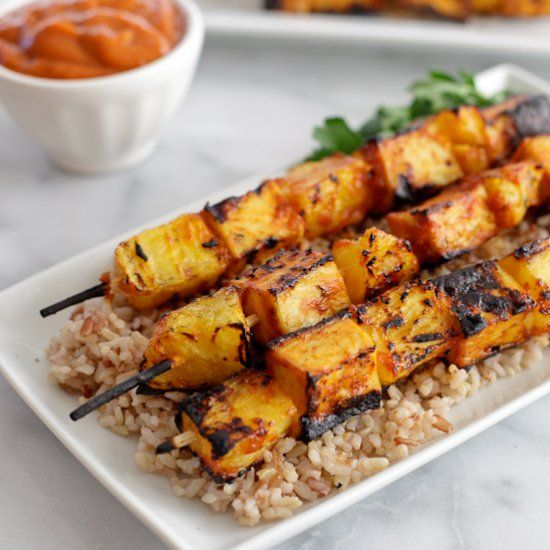 ... tofu skewers with spicy ginger mango BBQ sauce. Plus a tofu giveaway