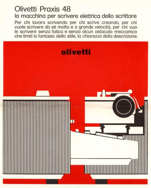 Locandina pubblicitaria disegnata nel 1964 da Angela Bonomi per la macchina per scrivere elettrica a spaziatura costante Praxis 48.