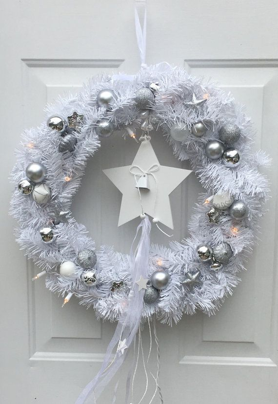 White Christmas wreath lighted Christmas by BsCozyCottageCrafts