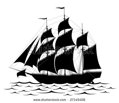 Black old ship and waves isolated on white - rastered image. Vector format in EPS is also available in my gallery.