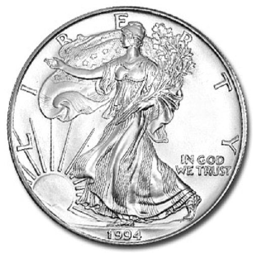 Coin: 1994 - 1 Ounce American Silver Eagle Low Flat Rate Shipping .999 Fine Silver Dollar Uncirculated Us Mint