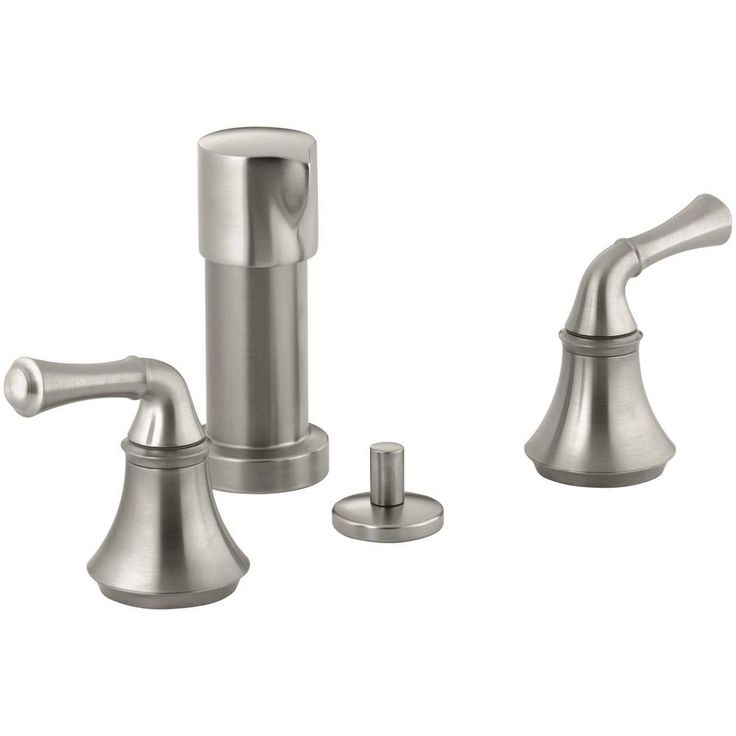 KOHLER Forte 2-Handle Bidet Faucet in Vibrant Brushed Nickel with Traditional Lever Handles