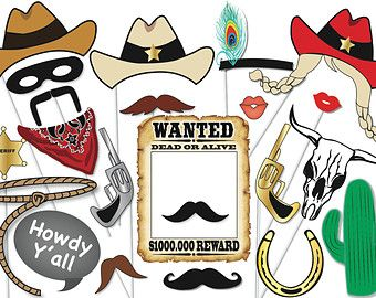 Vaquero o vaquera Photo Booth Props Seleciona por TheQuirkyQuail