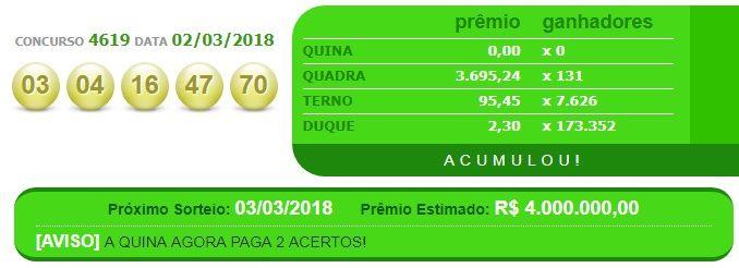RESULTADO – QUINA – CONCURSO 4619 DATA 02/03/2018 A Quina foi lançada em 13 de março de 1994 pela Caixa Econômica Federal e é a mais tradicional das loterias. Com 80 números disponíveis no volante de apostas, de 01 a 80,você pode marcar de 5 a 15 númerose ganha se acertar2 (Duque), 3 (Terno), 4 …