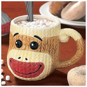 Sock Monkey Mug with Lid Ceramic Cable-Knit Texture Collectible Coffee Cup 1 of 1
