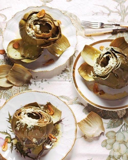 Easter Side Dishes // Steamed Globe Artichokes with Pecorino Vinaigrette and Fried Garlic Chips Recipe