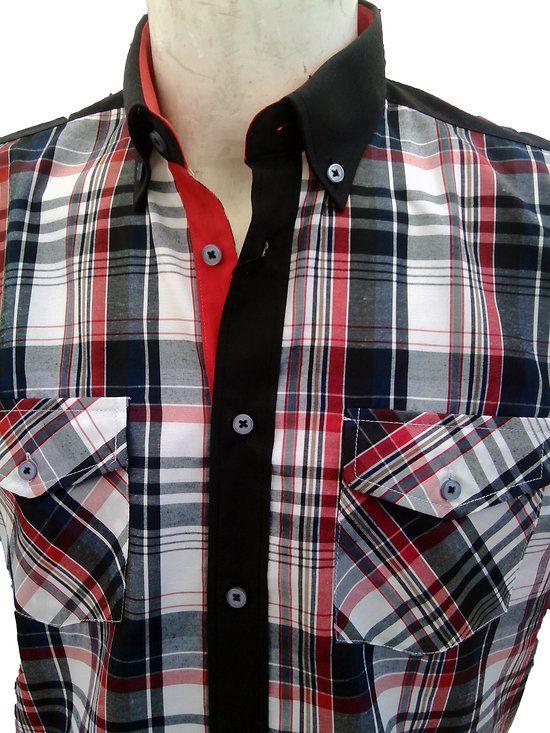 chemisettes homme cintrées noires à carreaux