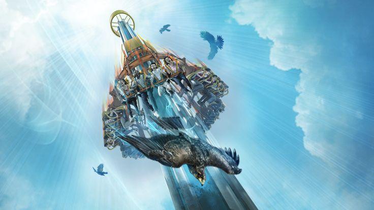 Concept art of Falcon's Fury at Busch Gardens