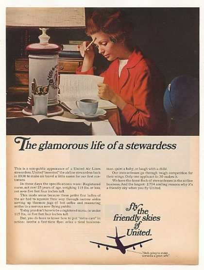 Vintage United Airlines Ad-The Glamours Life of a Stewardess
