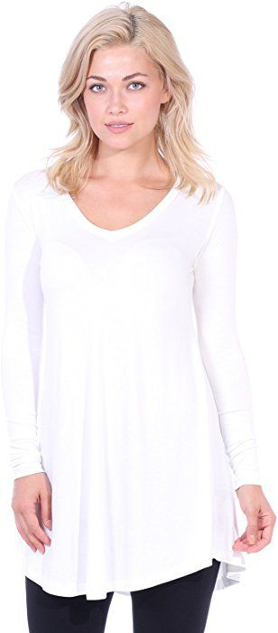d46cbddee1420b Popana Women s Tunic Tops for Leggings Long Sleeve Shirt Plus Size Made in  USA Medium Pearl at Amazon Women s Clothing store