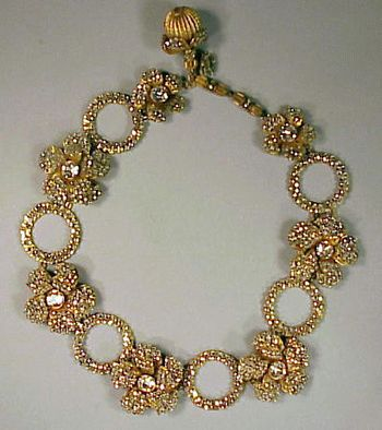 Miriam Haskell Rhinestone Necklace Alternating rings and flowerheads, marked. See Cera, The Jewels of Miriam Haskell, p.128.  Sold for $...