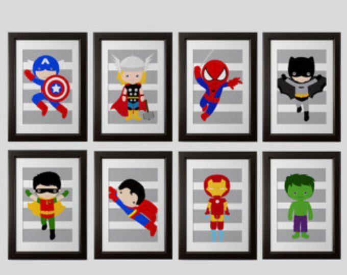 superhéroe 5 x 7 pulgadas impresiones, impresiones de alta calidad de superhéroe, enviados a su puerta, conjunto de 8, superhéroe dormitorio decoración de pared, vivero de superhéroe