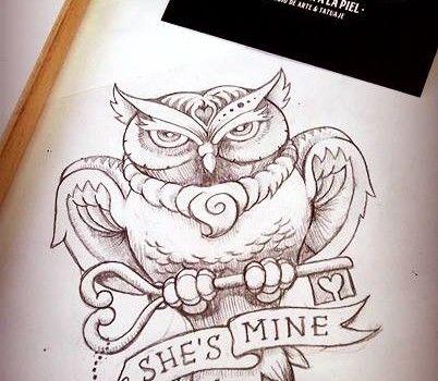 BÚHO CON LLAVE   Diseño realizado por Javier Jiménez, tatuador e ilustrador en Rolling Tattoo Fuengirola   Todos los Derechos Reservados   OWL WITH KEY   Designed by Javier Jiménez, tattooist & Illustrator in Rolling Tattoo Studio   All Rights Reserved   #owl #buho #tattoo #tatuaje #illustration #ilustracion