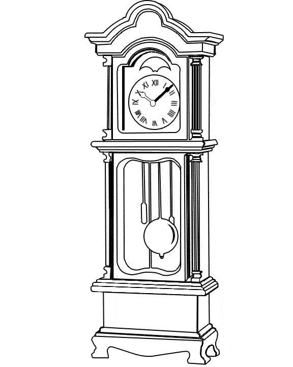Grandfather Clock Coloring Sheet