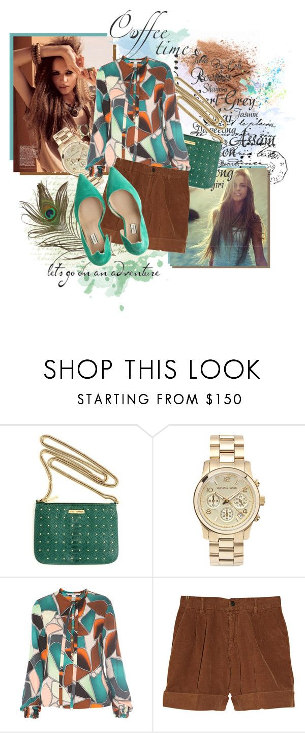 """""""thousand times"""" by mallow-mist ❤ liked on Polyvore featuring Melissa, Rebecca Minkoff, Michael Kors, Diane Von Furstenberg, Notify, By Malene Birger, oversized watches, boyfriend shorts, teal and mint"""