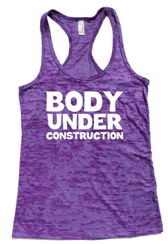 Body Under Construction Purple Burnout Racerback Tank by Sweatyselfie