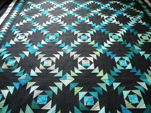 Yolanda's quilt | Black backgrounds, Flying geese and