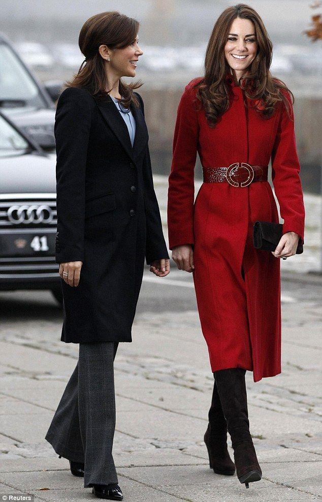 Crown Princess Mary of Denmark and the Duchess of Cambridge. Loving the red coat!