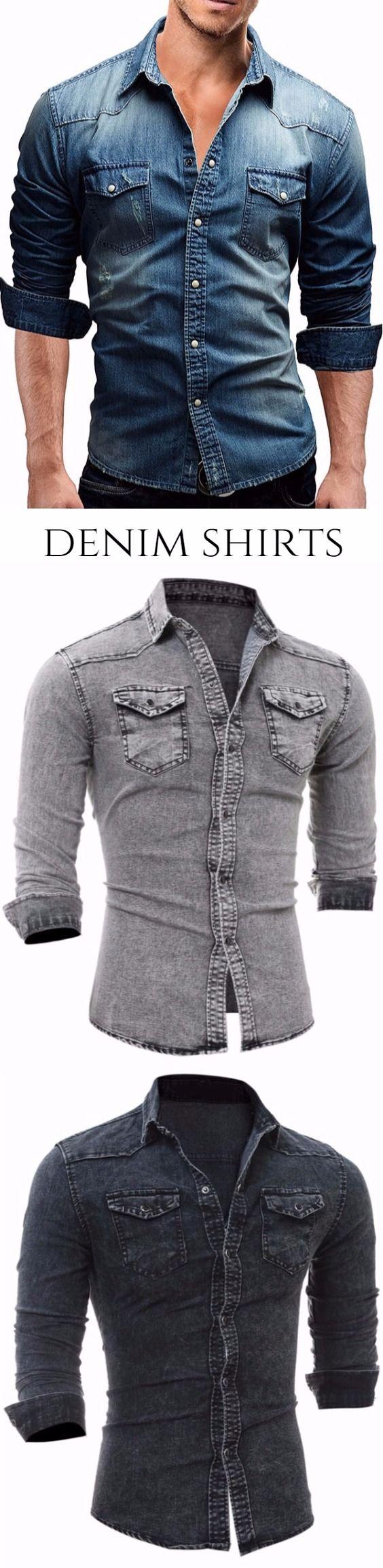 Flap Chest Pocket Long Sleeve Denim Shirt