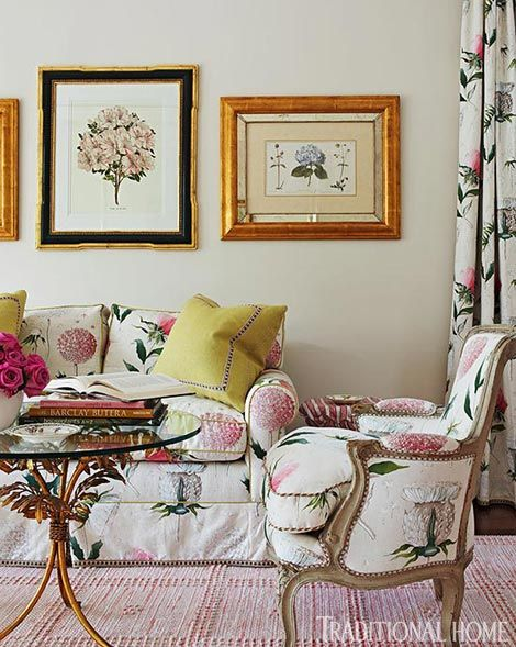 Sweet Sitting Area Robin wanted to incorporate comforting and soothing  fabrics into the master bedroom without the  fuss of multiple patterns. The same Manuel Canovas botanical print was  used for the draperies and for the sofa and armchair upholstery.