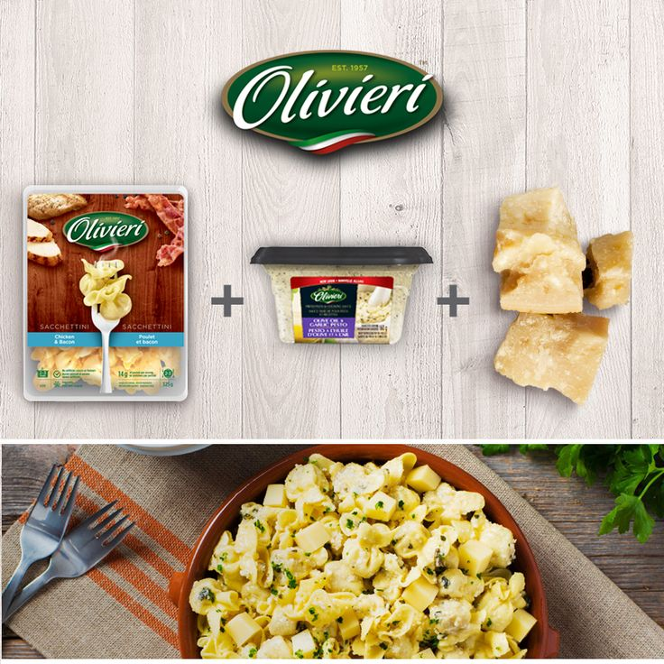 Try this delicious Chicken, Bacon & Cheese Sacchettini in Garlic Pesto for back-to-school! It's ready in 15 minutes. #OlivieriRecipe