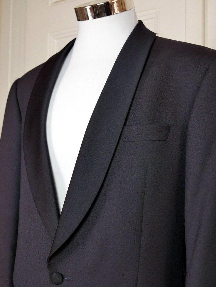 Vintage Tuxedo Jacket, Black Dinner Jacket w Satin Shawl Lapel, German 1990s Black Smoking Jacket, European Tux Blazer: Size 42R (US, UK) by YouLookAmazing on Etsy