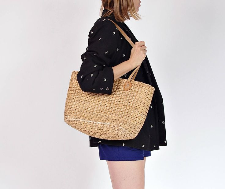 80s Natural straw basket bag by Only1Copy on Etsy