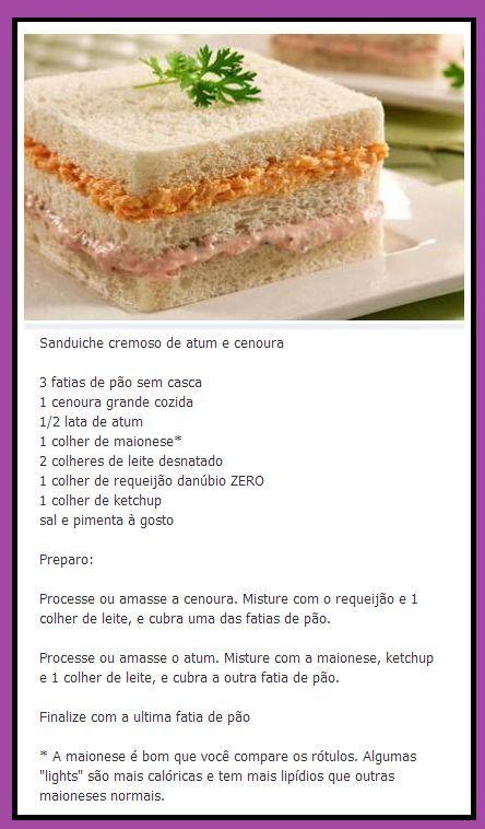 Sanduíche cremoso de Cenoura e Atum: