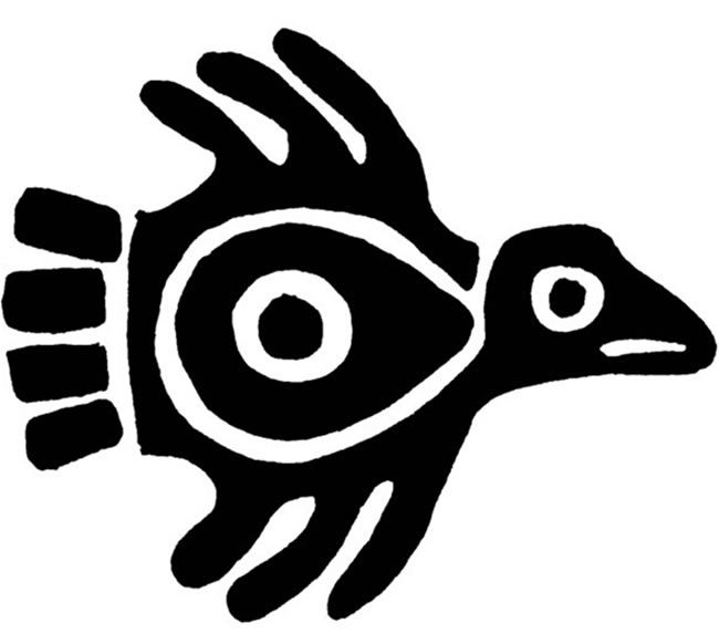 ancient mexican bird design - printable