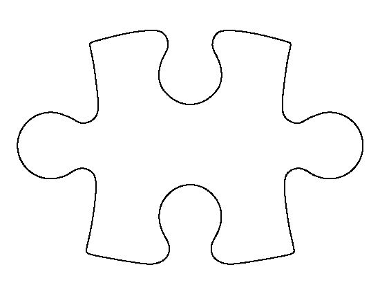 Puzzle piece pattern. Use the printable outline for crafts, creating stencils, scrapbooking, and more. Free PDF template to download and print at http://patternuniverse.com/download/puzzle-piece-pattern/