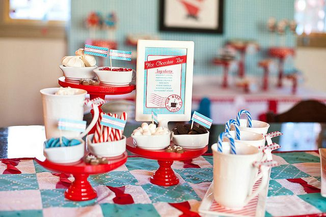 Cute! Hot Chocolate Bar for a holiday party (holiday party planning checklist)