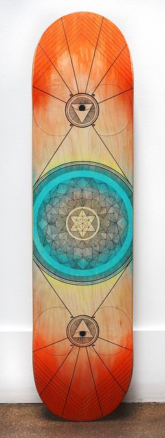 Symmetry in Skating deck design hand-drawn / painted with watercolor and pigma microns.- impressive work