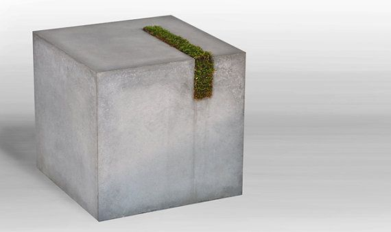 Concrete table with moss stripe -- great side table or impromptu seat for outdoor garden seating