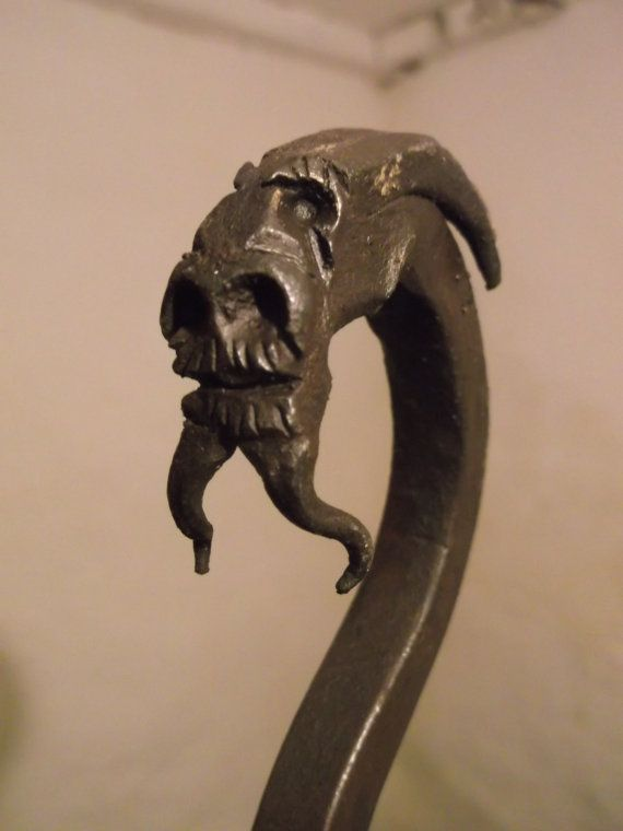 Old Dragon Head Fire Poker Blacksmith Forged Hiking