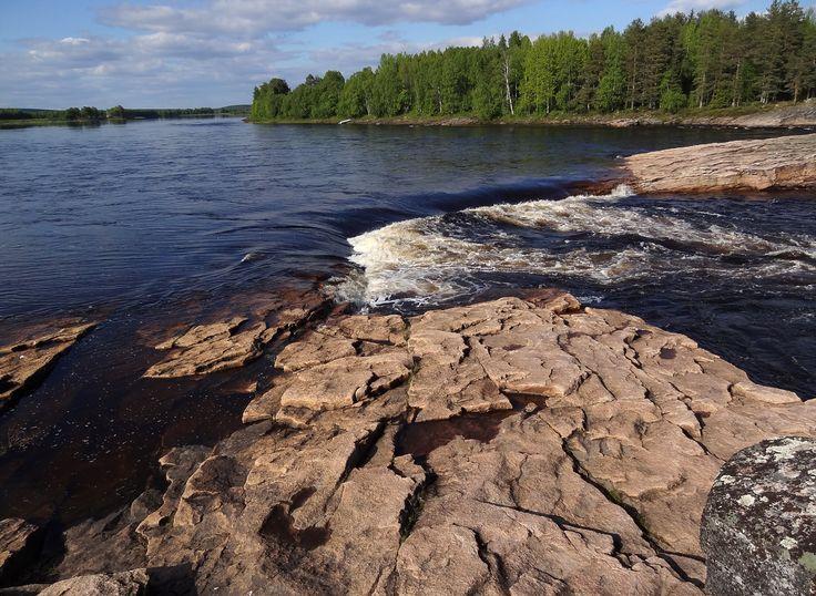 Kattilakoski rapid in Tornio River in Pello in Lapland
