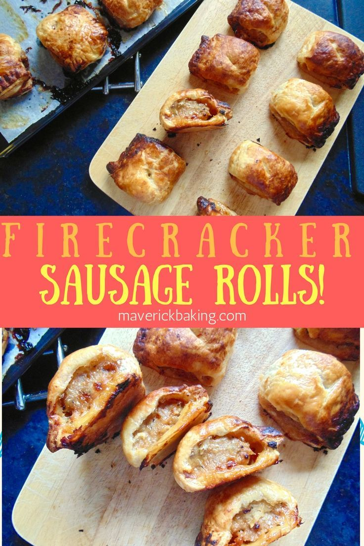 Firecracker Sausage Rolls. Sweet chilli glazed spicy sausage meat wrapped in crispy flaky pastry! These are a perfect snack or lunch in the cold season!