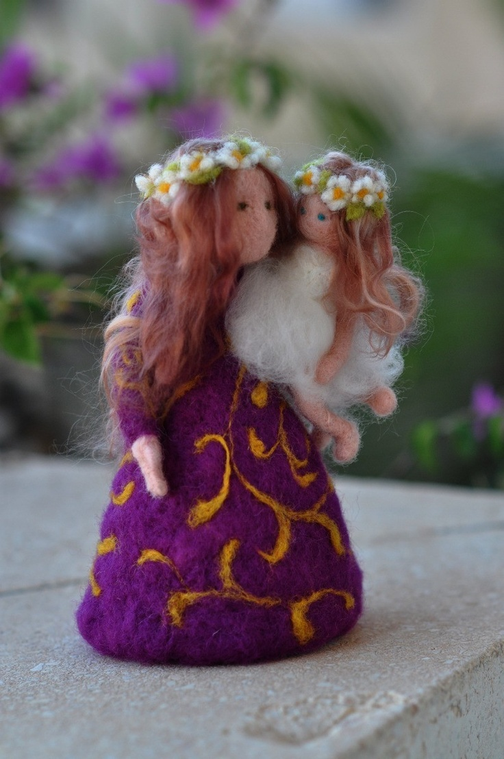Needle felted Waldorf  Mother and child/ standing doll/soft sculpture/needle felt by Daria Lvovsky. $68.00, via Etsy.