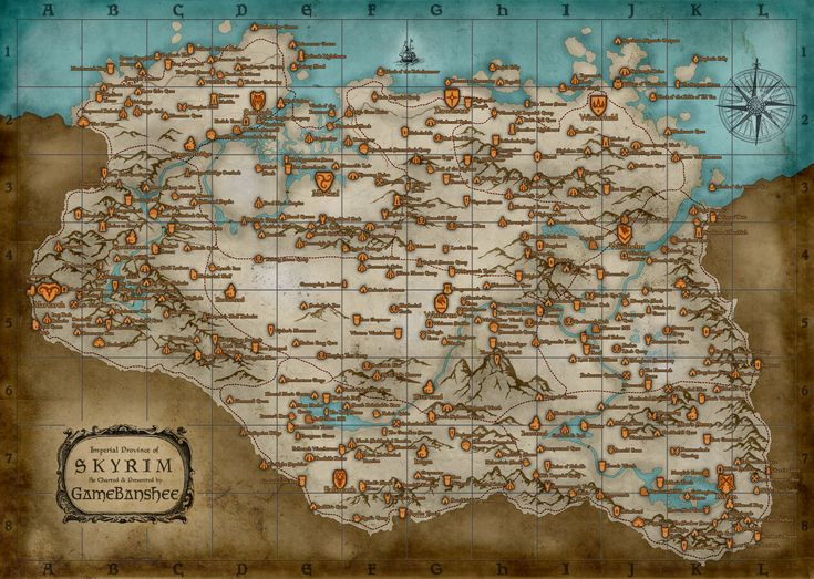 Full Map Of Skyrim; I'd almost given up all hope of finding a map such as this.  If only it was hyperlinked eh?