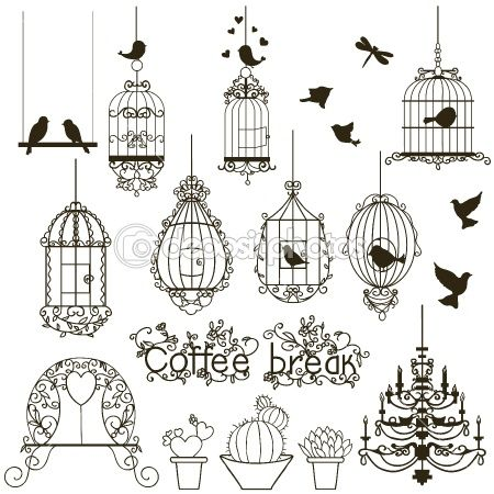 Birdcage set. by yaskii - Stock Vector