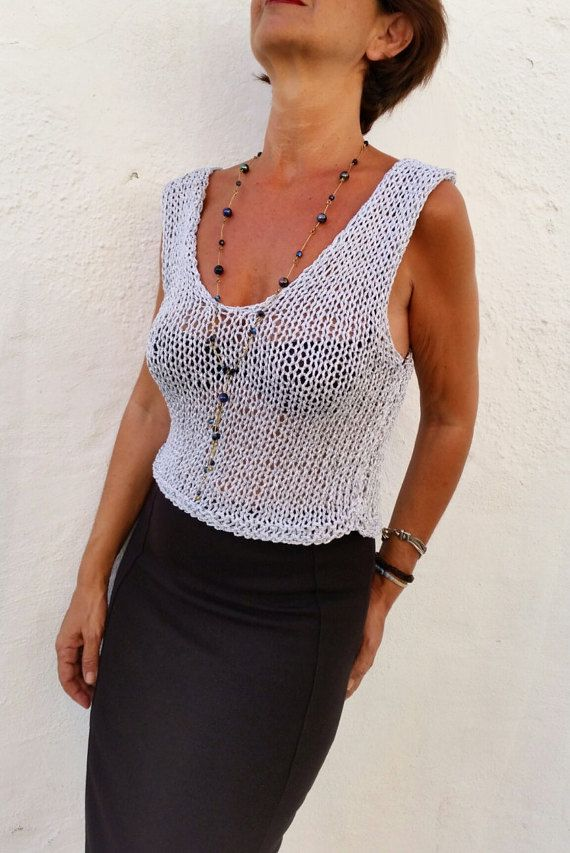 Silver knit top, v neck sweater. Minimal chic!!!
