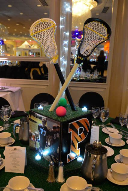 Lacrosse Themed Centerpiece Lacrosse Themed Bar Mitzvah Centerpiece with Lacrosse Sticks & Turf Base