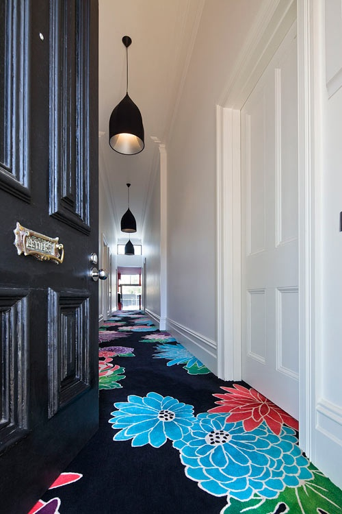 : Clouds House, Hallways, Black Doors, Interiors, Painting Floors, Carpets, Rugs, Design, White Wall
